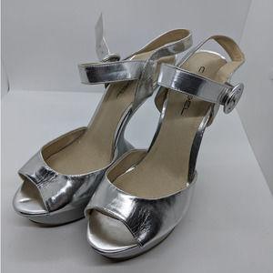C Label Silver Floating Platform Heels